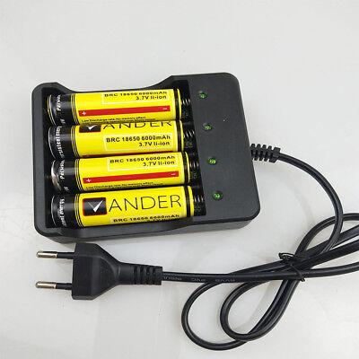 4x Ladegerät Für 18650 3.7V Wiederaufladbare Li-Ion Akku EU Plug + 4x Akkus