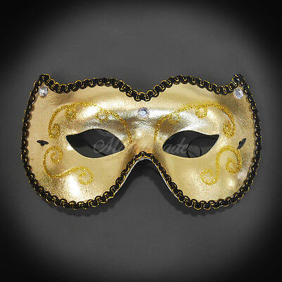 Party Mask New Year New Orleans Mardi Gras Masquerade Mask for Men Gold J-6918](Masquerade New Years Party)