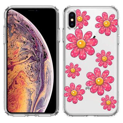 For Apple iPhone XS Pink Daisy Flowers Clear Phone Protector Cover Case for sale  Shipping to India