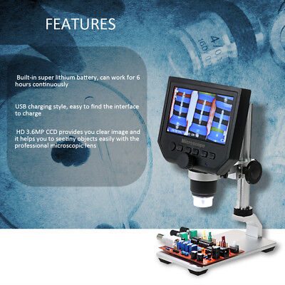 600x 4.3lcd Display 3.6mp Electronic Digital Video Microscope Portable Led D5s0