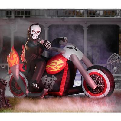 Inflatable Grim Reaper (Grim Reaper On Chopper Motorcycle Halloween Airblown Inflatable LED Yard)