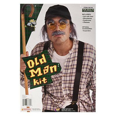 Old Man Kit Hat with Hair Moustache Eyebrows Glasses Halloween Costume Adult  - Halloween Costumes With Mustache