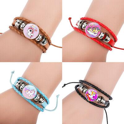 Adjustable Children Unicorn Bracelet Leather Braided Glass Plate Wrist Bangle (Unicorn Bracelet)