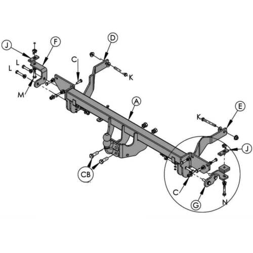 WITTER PFC5B Fixed Flange Towbar Citroen Relay Fiat Ducato