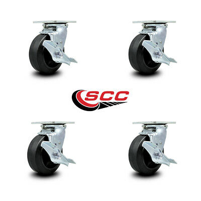 Scc 5 Rubber On Cast Iron Wheel Swivel Casters Wbrakes - Set Of 4