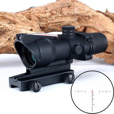 ACOG style 4x32 Scopes Red Real Fiber Optics Chevron Reticle Rifle Scopes