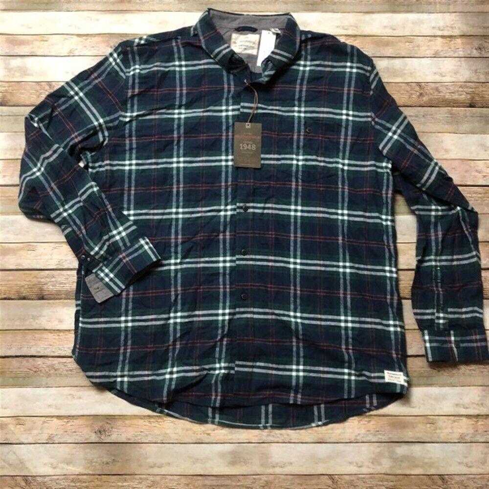Details about Weatherproof Mens Flannel Plaid Button Up Work Shirt 2XLT  Green