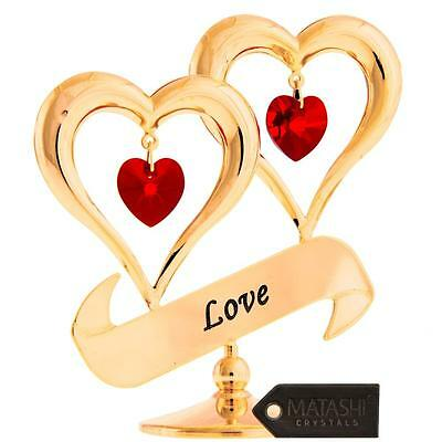 - 24K Gold Plated Crystal Studded Love Inscribed Double Heart Ornament by Matashi®