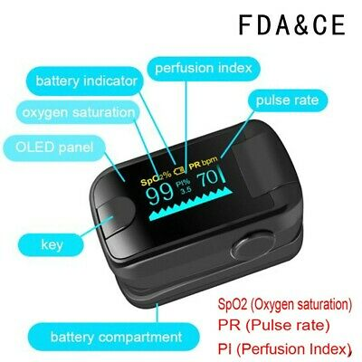 Oled Fingertip Pulse Oximeter Spo2 Pr Pi Heart Rate Monitor Fda Ce
