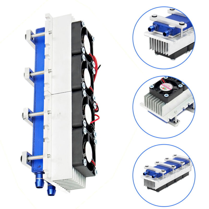 12V 4 Chip DIY Thermoelectric Peltier Cooler Water Cooling Device USA STOCK