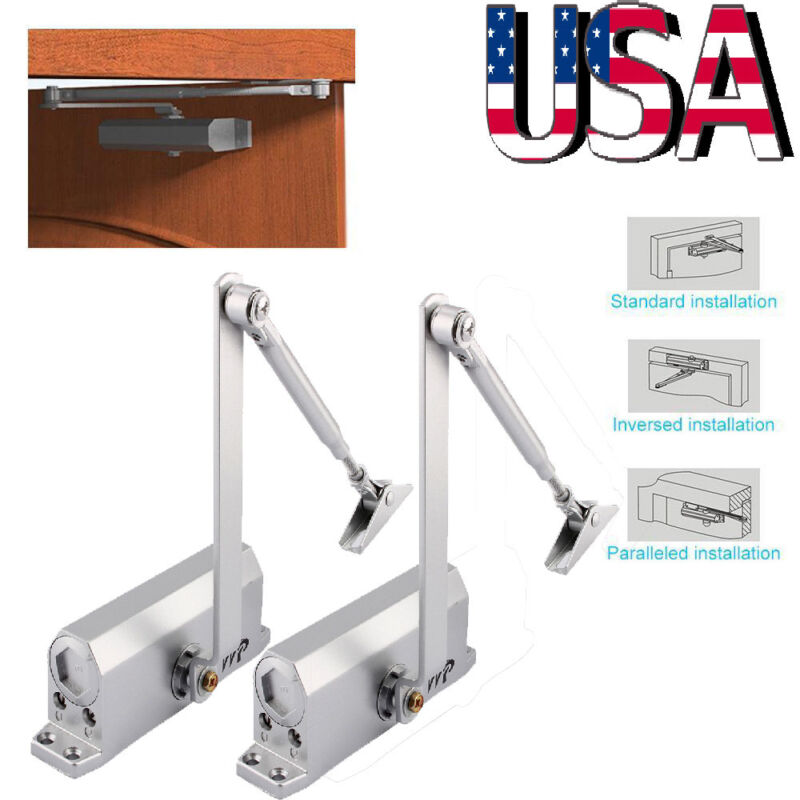 2pc Stainless Steel 45-60KG Surface Mounted Automatic Spring Closing Door Closer