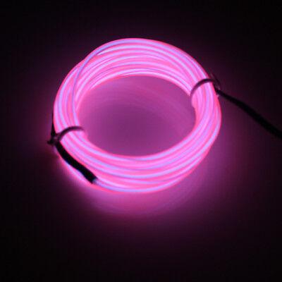 LED Rosa 3M EL Wire Lightup Kostüm Neon Party Rave Konzert Live Bad Bar Club DE