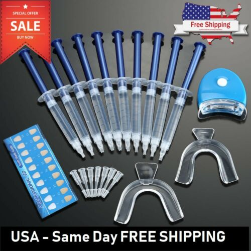 Teeth Whitening Kit 10 X Tubes 2 Trays (1) White LED Light Best 44% CP Gel USA