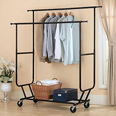 Commercial Heavy Duty Clothing Garment Rolling Collapsible Rack Double-bar Steel