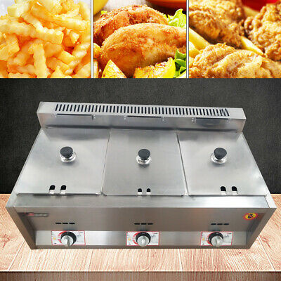 18l 3 Wells Countertop Gas Fryer Deep Fryer Commercial Kitchen Deep Fryer