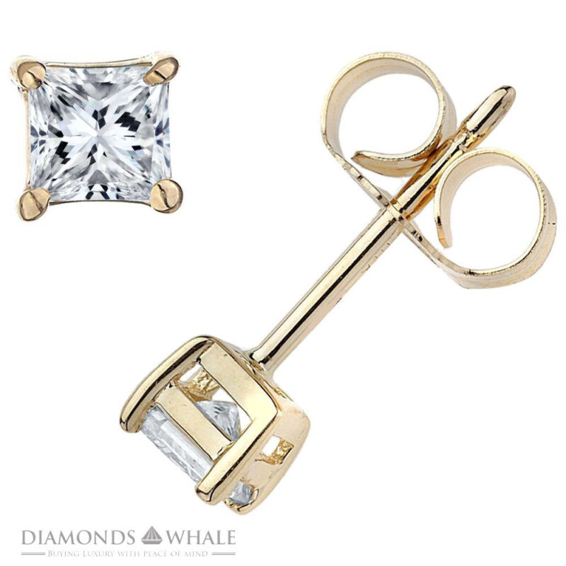 1 Ct Princess Stud Diamond Earrings Vs1/d 14k Yellow Gold Engagement, Enhanced