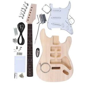 DIY Unfinished Project Luthier ST Electric Guitar Kit Maple Neck Set C3F4
