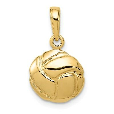 14K Yellow Gold Polished Solid and Diamond Cut Sports Theme Volleyball Charm