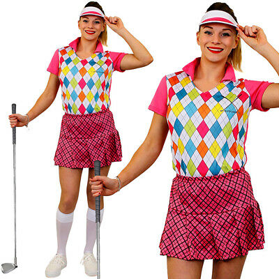 LADIES GOLF GOLFING FANCY DRESS PINK PUB HEN NIGHT DO PARTY GOLFER CRAZY WOMENS