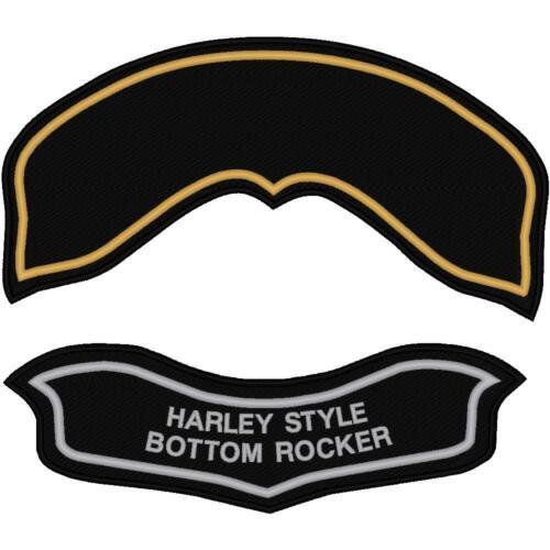 CUSTOM EMBROIDERED HARLEY HOG BOTTOM ROCKER PATCH