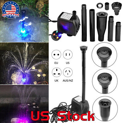 Outdoor Fountains Waterfalls (15W Fountain Maker LED Pump Aquariums Oxygen Garden Waterfalls Pool Fish Pond US )