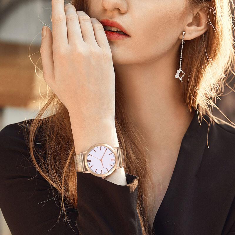 Women Watch Auger Crystal Date Stainless Steel Quartz Lady Women Wrist Watch ss
