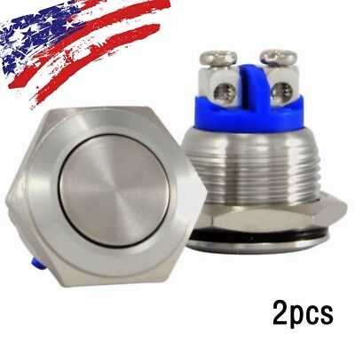 2 Pcs 12v Push Button Switch Start Momentary Auto For Carboat 16mm Us