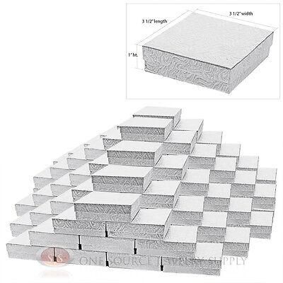 "100 SILVER SWIRL COTTON GIFT BOXES 3 1/2"" X 3 1/2"