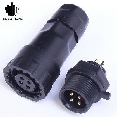 4-pin Waterproof Panel Cable Connector Ip68 500v 15a Multipole Plug Socket