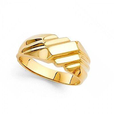 Solid Square Ring Band 14k Yellow Gold Diamond Cut Polished Finish Fashion Boys