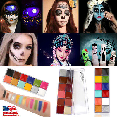 Halloween Face Paint Set (12 Colours Face&Body Paint Professional Palettes Set Oil Stage Art Make Up)