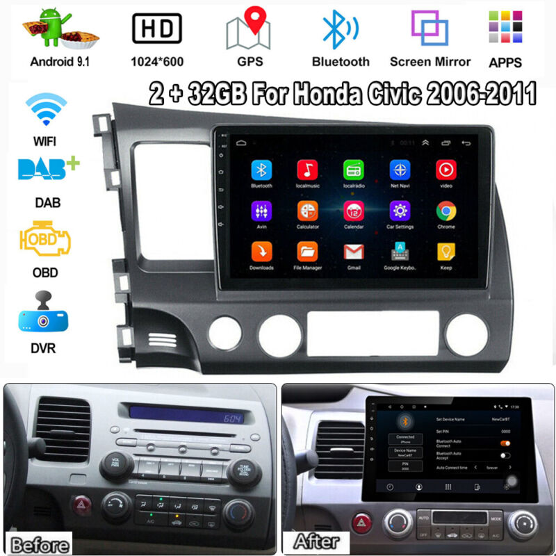 "For Honda Civic 2006-2011 10.1"" Android 9.1 Stereo Radio GPS Navi 2GB+32GB XC461"