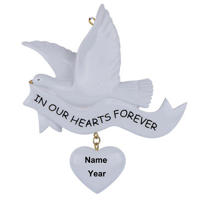 Personalized Memorial Chrisrmas Ornament Dove In Our Hearts Forever Holiday - In Memory Christmas Ornaments