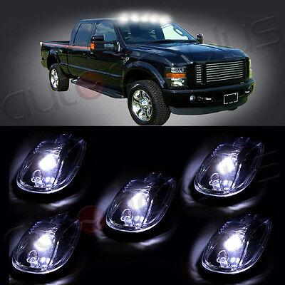 5pcs Smoke Lens T10 White Led Roof Cab Maker Running Lights For 03 16 Dodge Ram