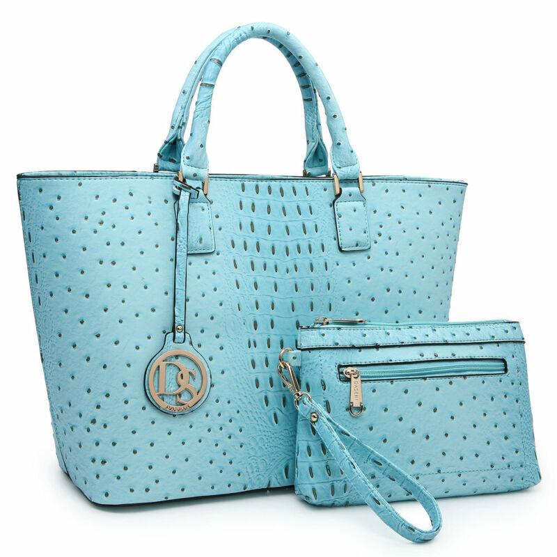 Women Large Handbags Ostrich Faux Leather Bag Shoulder Purse w/ Matching Wallet