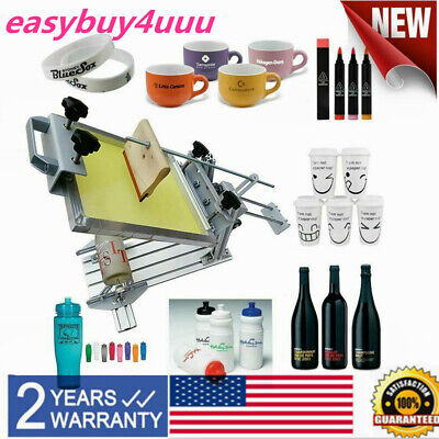 Manual Cylinder Screen Printing Machine For Pen Cup Mug Bottle With 10 Squeegee