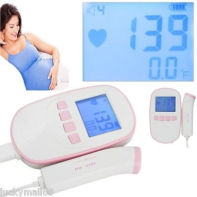 Fetal Doppler 2m Probe Lcd Ultrasound Prenatal Detector Baby Heart Rate Monitor