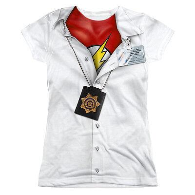 Cheap Junior Halloween Costumes (I'M THE FLASH Costume Licensed Front Halloween Women's Junior Tee Shirt)