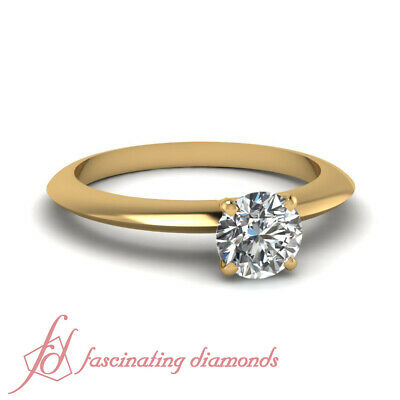 Yellow Gold Knife Edge Solitaire Engagement Ring With 3/4 Carat Round Diamond
