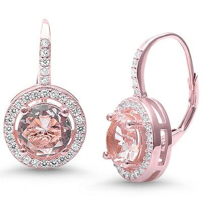 Morganite Round Halo CZ .925 Sterling Silver Drop Dangle Earrings