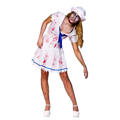 Sailor Girl Zombie Ladies Halloween Fancy Dress Party Undead Navy Costume Outfit](Halloween Sailor Zombie)