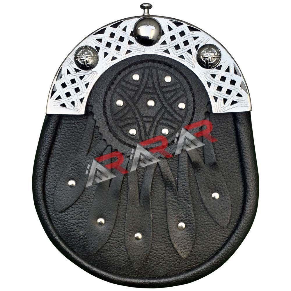 New Celtic Design Black Leather Sporran with S//Chain Kilt /& Belt Bagpipe AAR