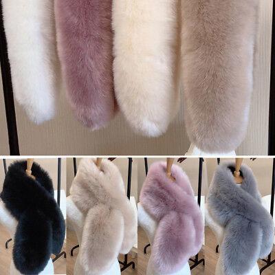 Women Faux Fur Scarf Collar Winter Warm Fluffy Furry Shawl Wrap Stole Soft Long Long Collar Scarf