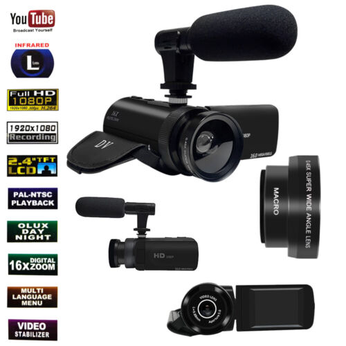 Digital Camera 1080P Video 16X ZOOM 24MP DV Camcorder Recorder With Mic Youtube