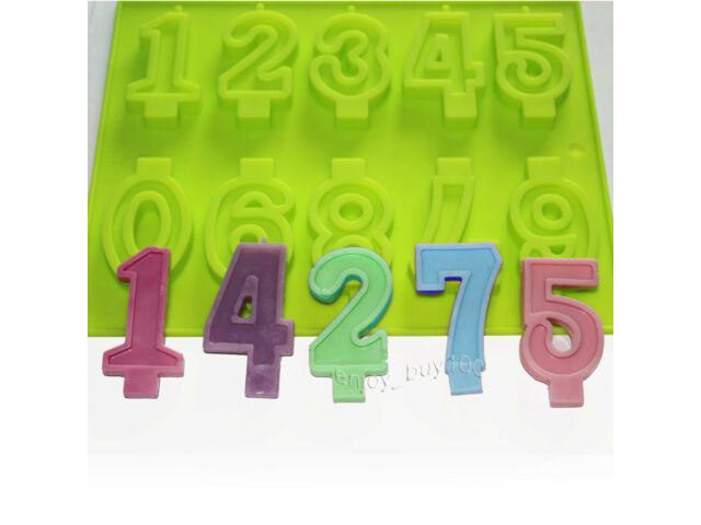 Numbers Candle Candy Chocolate Silicone Mold Birth