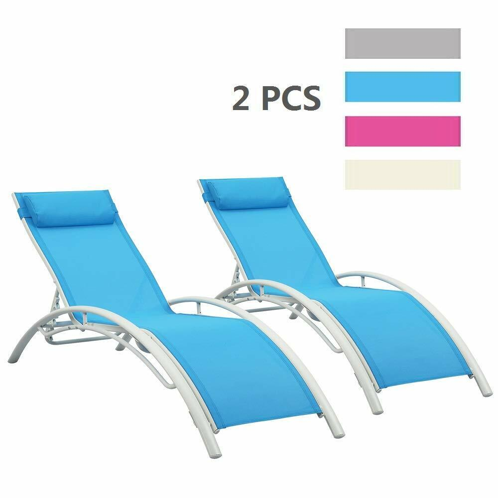Chaise Lounge Chair Outdoor Pool Beach Yard Adjustable Patio Furniture Recliner