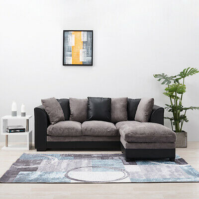 2, 3 Seater Corner Group Sofa Right and Left with Pillows ,Brown and Black Home