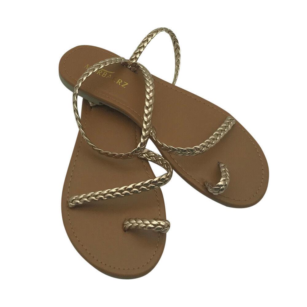 Women/'s Weave Strappy Gladiator Flat Heel Flip Flops Beach Sandals Summer Shoes