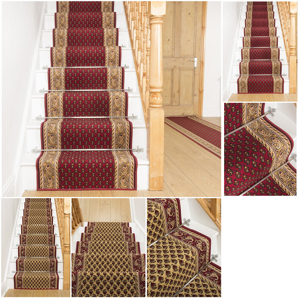 Tappeti Per Scale Su Misura details about extra long red cream stair staircase runner mat rug- show  original title