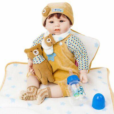 "20"" Reborn Soft Vinyl Baby Doll Clothing & Accessories - 15 Pieces Set Lifelike"